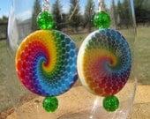 rainbow swirl tie dye earrings