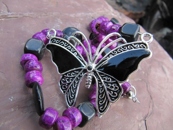 purple and black beaded butterfly necklace