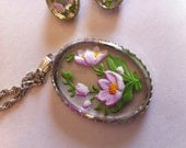 Vintage Molded Plastic Handpainted Pendant and Clip Earrings 1960s
