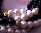 Pearl, Black Glass Bead and Gold Beaded Vintage Necklace