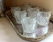 Cocktail Tumblers - Set of six Pyramid Glass Mid Century Vintage