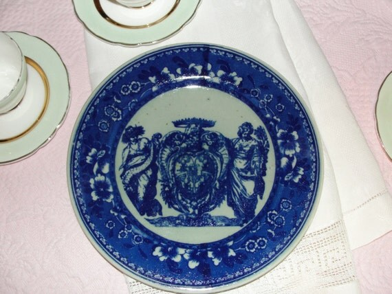 Greek Goddess Vintage Flow Blue Ironstone Plate