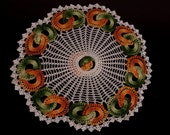 Vintage Crocheted lace doily Hunter Green Pumpkin Orange