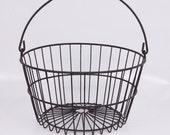 Vintage Metal Wire Egg Basket-Black- Bale Handle Apple Potato Farm Gathering