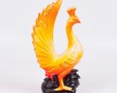 Vintage Peacock 1950s Figurine Pacific Import Made in Japan Orange Yellow Ceramic