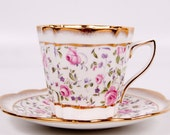 Vintage Rosina Teacup Pink Rose Tea Cup and Saucer Made in England Brushed Gold Bone China