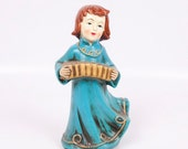 RESERVED FOR LESLIE Vintage Angel Music Box Japan Silent Night Accordion Hand Painted Christmas Holiday