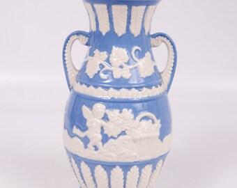 Vintage Cherub Vase Japan Blue and White Pottery Angel Urn Double Handled 1940s Embossed Design Wedgwood Style