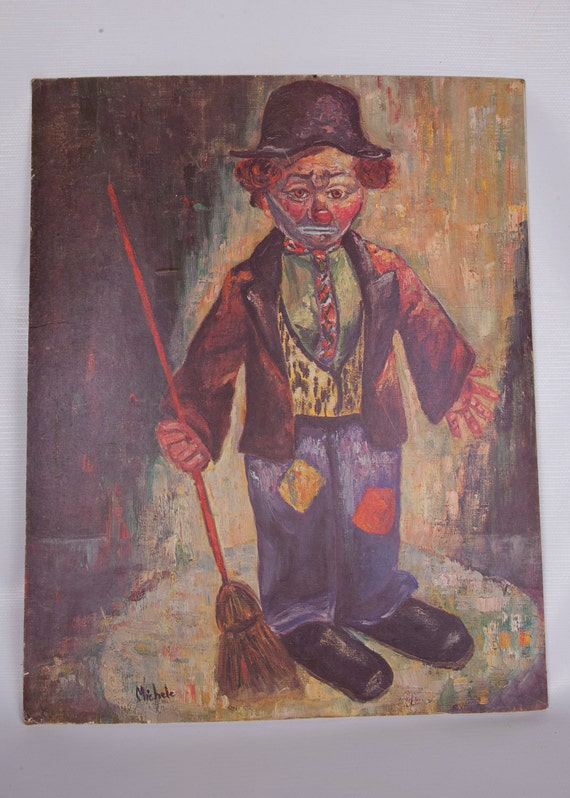 Vintage Clown Painting By Michele Clown Print By