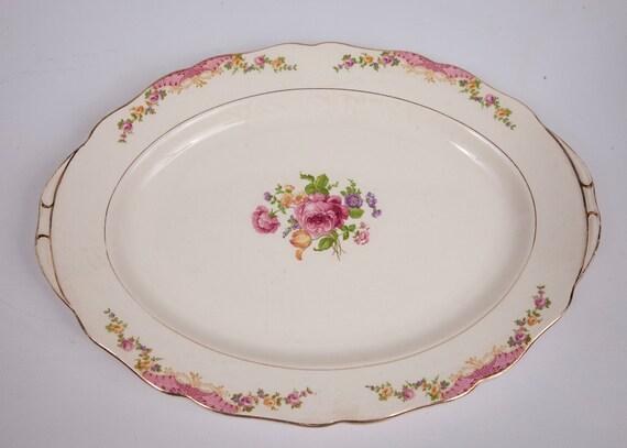 Vintage Rose Platter Carrollton Serving Plate Floral Design Made in USA