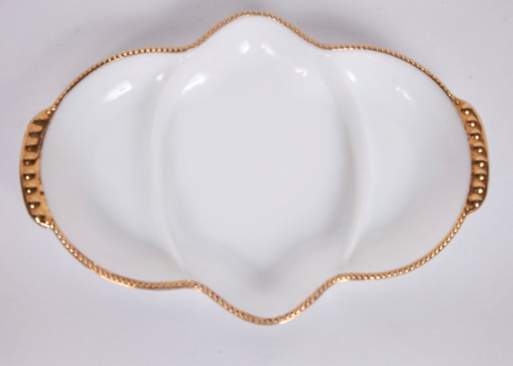 Vintage Milk Glass Platter Fire King Sectioned Gold Edging Beaded Gold Edge Oven Ware Made in USA