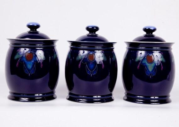 Vintge Cobalt Canisters Denby Baroque Handthrown Pottery Cobalt Blue Storage Jars Set of 3