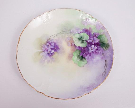 Vintage Bavaria Plate Royal Crown Tilly Flowered Violets