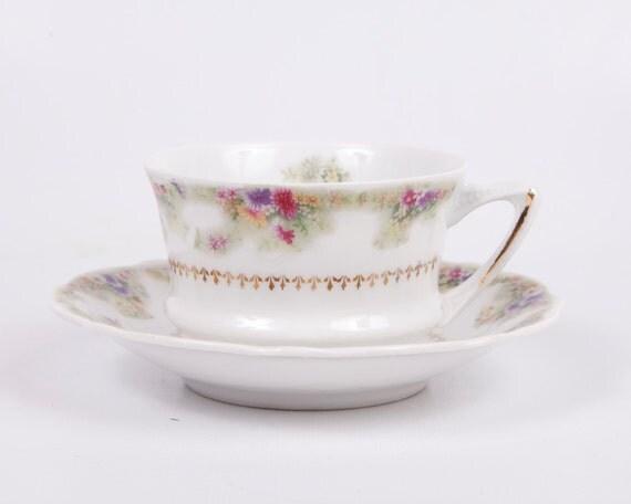 German Porcelain Teacup and Saucer Carl Tielsch German Porcelain Vintage CT China