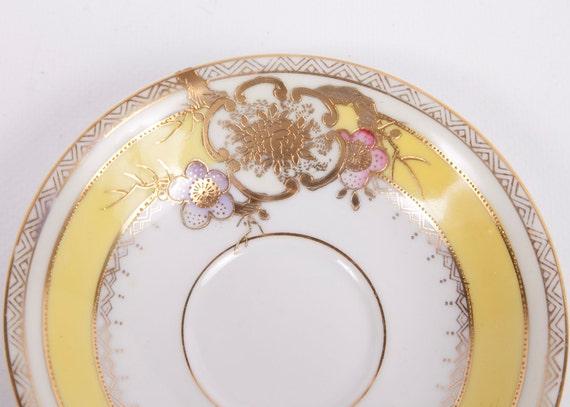Vintage Occupied Japan Chugai China Saucer Raised Gold Flowers 1940s Hand Painted