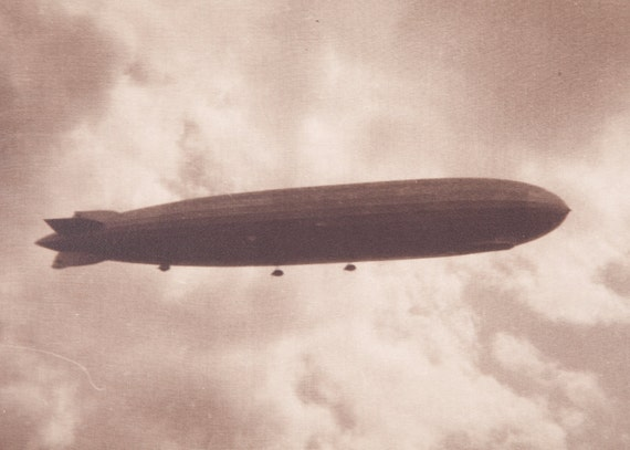 Photograph Zeppelin Airship Germany Sepia 11x14 Vintage