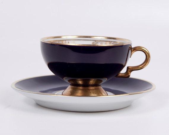 Bavaria Pedestal Teacup Johann Haviland Cobalt blue and Gold Vintage Demitasse