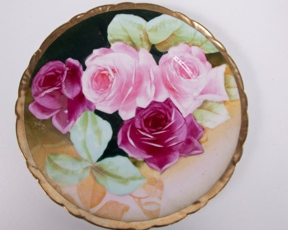 Vintage Prussia Newport Belle Plate Hand Painted Signed By Artist Pink Roses Germany