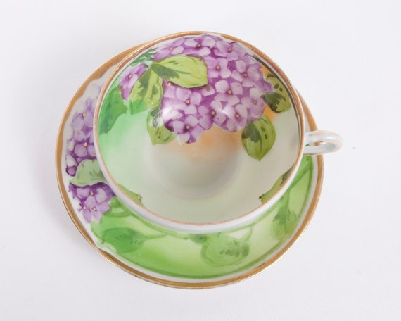 Purple Lilac Teacup and Saucer I E & C Co Hand Painted Japan Dated 1868-1912 RARE