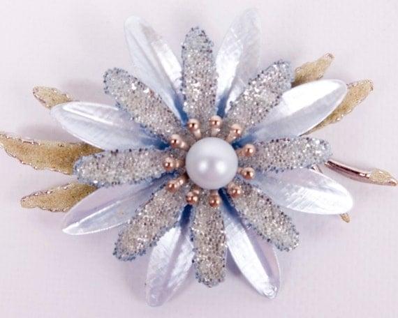 Vintage Enamel Flower Brooch Pin Glitter Silvertone Pearl Center Daisy Baby Blue Green 60s Costume Jewelry