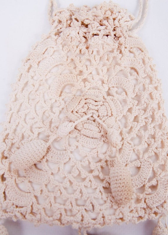 Vintage Crocheted Purse Ivory Drawstring Bag Lined Pineapple Tassles ...