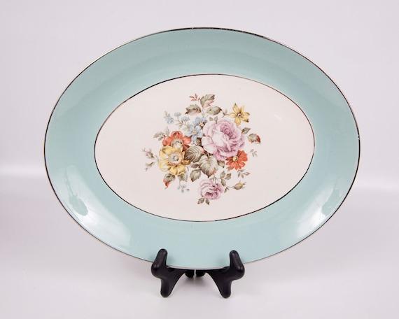 Vintage Blue Platter Oval Cunningham & Pickett Danube Pattern Porcelain