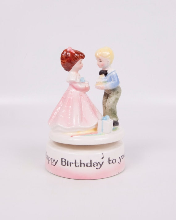 Vintage Music Box Happy Birthday To You Boy and Girl Revolving Made in Japan