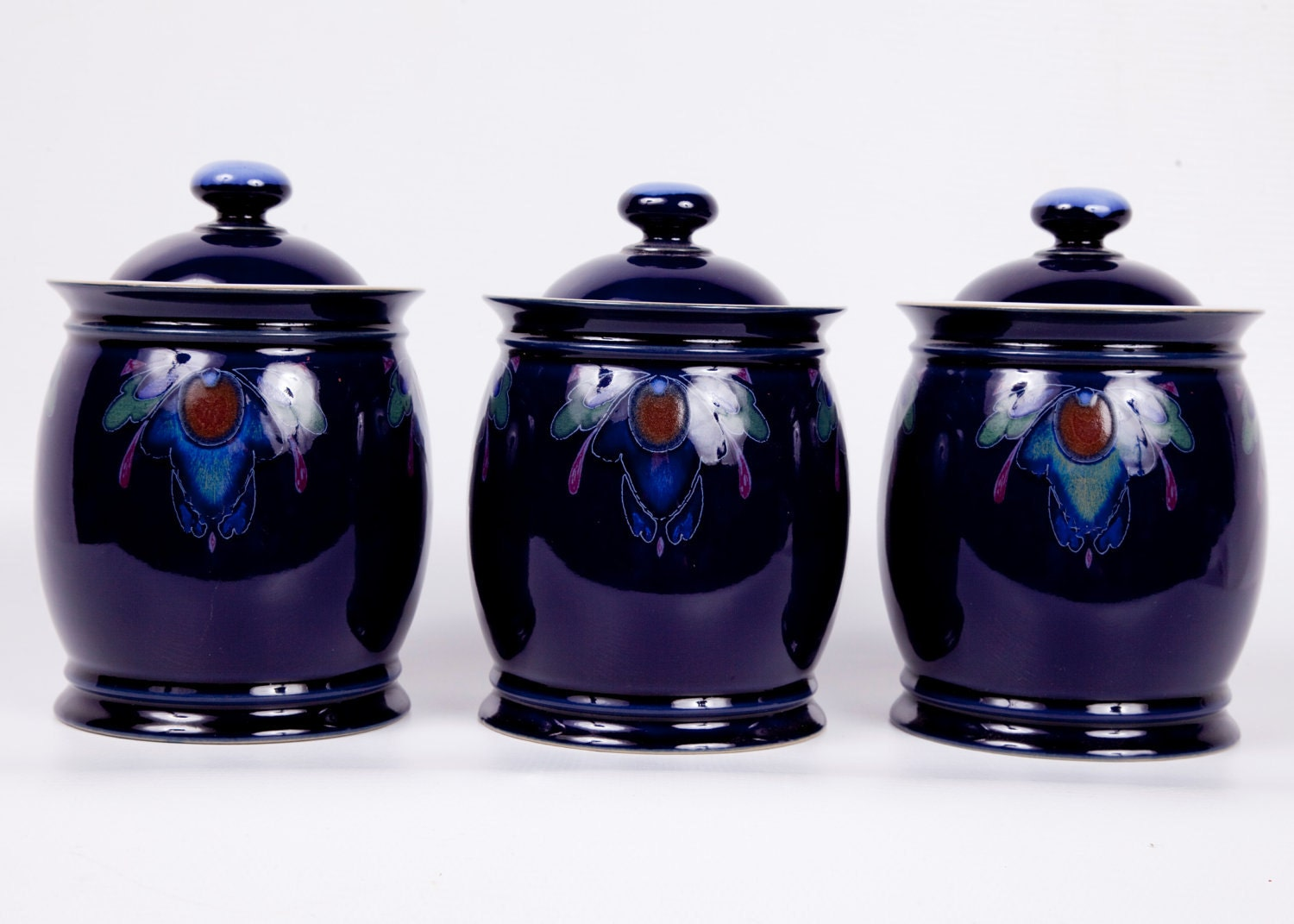Purple Kitchen Canisters Vintge Cobalt Canisters Denby Baroque Handthrown Pottery