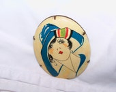 RESERVED FOR ZARZIE-----1920's Celluloid Flapper Brooch