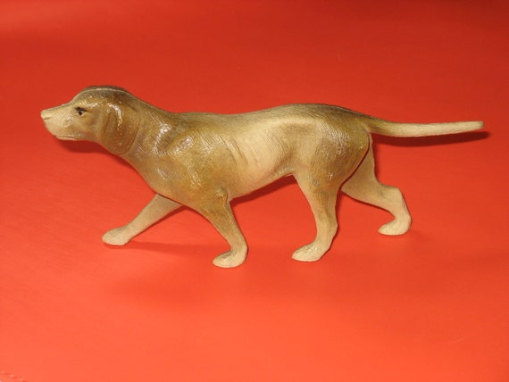 Vintage 1930's Celluloid Toy Hound Dog Made By The Viscoloid Co.