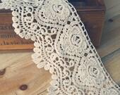 2 Yards Lace Trims 11cm Wide,Embroidery,Vintage Style,Beige Color,Floral,European Royal Texture,Cotton(DL4)
