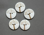 Wooden Bottons Set,30mm, Love Tree,Round-(5 in a set)(FN5)