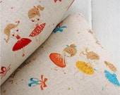 Half Yard Cotton Linen Fabric for craft,Vintage Style,Dancing Girl,Ballet,Pattern,Sewing (C203)