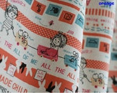 Half Meter Cotton Linen Fabric,Craft,Cartoon,Child,Hand In Hand,Playing,Animals,Pattern,diy,Sewing (C238)