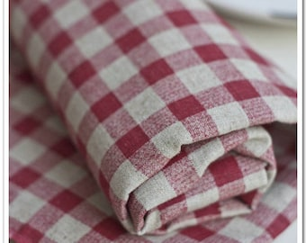 Half Yard Linen fabric for craft,Red and White Gingham,diy,sewing (C88)