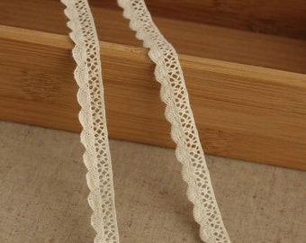 2 Yards Lace Trims 1.1cm Wide,Sector Shape, Beige Color,Cotton(GL1)