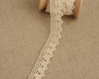 2 Yards Lace Trims 1.5cm Wide,Streak,Pure Beige Color,Cotton(GL11)
