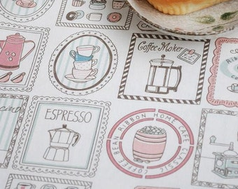 Half Yard Cotton Linen Blended Fabric for craft,Vintage Coffee Grinder,Coffee Moker,diy, Cartoon Pattern (C126)