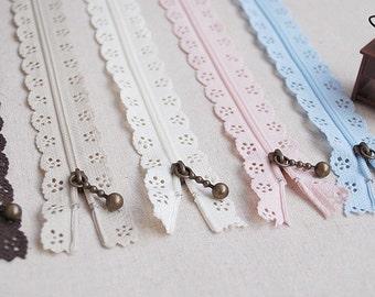 Antique brass zipper, 5 colors, nylon lace 20cm length, 5 units in a set (T5)