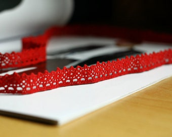 One Yard Lace Trims 1.4cm Wide,Embroidery crochet ,Red Color, Scalloped,Cotton(YL1)