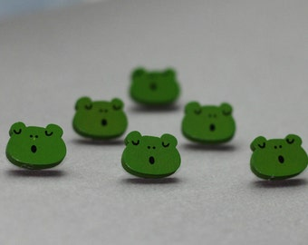 Wooden Bottons Set,Frog Shape,Green Color,20mm Width -(6 in a set)(FN2)