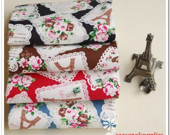 Half Yard Cotton Linen Blended Fabric for craft,4 Colors For Choice,Eiffel Tower,Rose,Lace Frame Pattern,diy (C153)