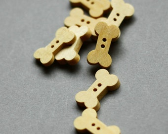 Wooden Bottons Set,Bone Shape,Wood Color,18mm Height -(8 in a set)(FN16)