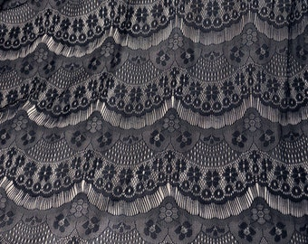 1 yard Black eyelashes paragraph clothing lace fabric, Embroidery,Wedding,Black Color,Polyester Mesh,Cotton stretch fabric (W5)