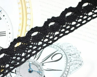 One Yard Lace Trims 40mm Width,Embroidery Crochet,Black Color, Scalloped,Cotton(YL31)
