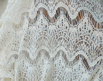 One Yard Lace,Eyelashes,Tassels Lace Fabric, Embroidery,Wedding,Bridal,Cream and Beige Color color choice,Polyester Mesh, fabric (W18)