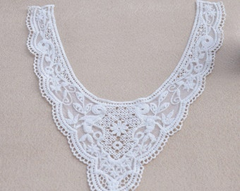 1 Pcs White  Crocheted Lace Collar,Embroidery, Appliques,Fabric,Diy,Sewing (CA28-ST15)