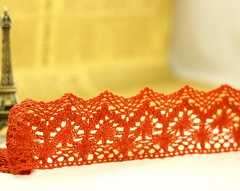 1 Yard Lace Trims 7.0cm Wide,Fabric Mesh Scalloped Shape,Red Color,Cotton--Classic Style (YL39)