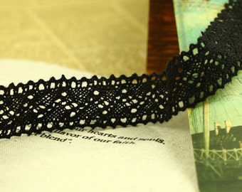 One Yard Lace Trims 22mm Width,Embroidery Crochet,Black Color, Scalloped,Cotton(YL45)
