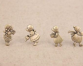 4Pcs Snap Button Antique bronze Plated Brass Bottons Set,21x11mm,Cute Pattern for Little Girl-(4 in a set)(GN38)
